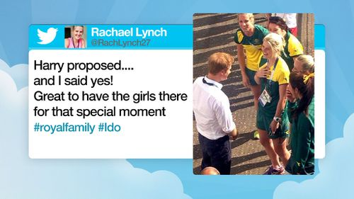 Hockeyroo Rachael Lynch jokes on twitter after being photographed with Prince Harry.