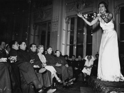 Josephine Baker entertains troops in 1940.