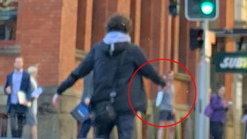 The knifeman is seen on Clarence Street in Sydney CBD. (ayusha77)