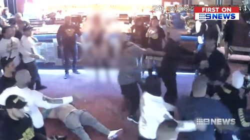 Dozens of men joined in the brawl. Picture: 9NEWS