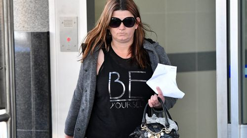Charmaine Elizabeth Blessington leaves the Watchhouse in Brisbane. Picture: AAP