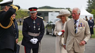 Prince Charles, Prince of Wales and Camilla, Duchess of Cornwall arrive to attend the national service of remembrance marking the 75th anniversary of VJ Day at the National Memorial Arboretum on August 15, 2020 in Alrewas, England