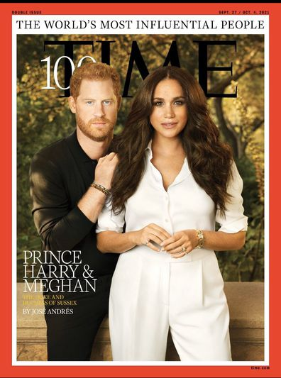 Prince Harry and Meghan Markle on the cover of Time Magazine's 100 Most Influential People