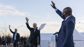 Joe Biden campaigning for candidates Jon Ossoff and Rev. Raphael Warnock in the Georgia Senate run-off elections.