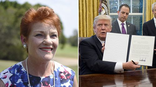 Pauline Hanson welcomes US exit from Trans-Pacific Partnership