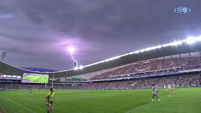 Lightning strikes over Allianz Stadium.