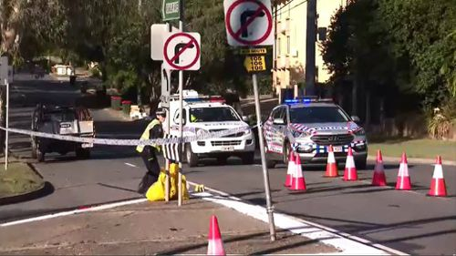 Police at the scene in Chelmer yesterday. Picture: 9NEWS