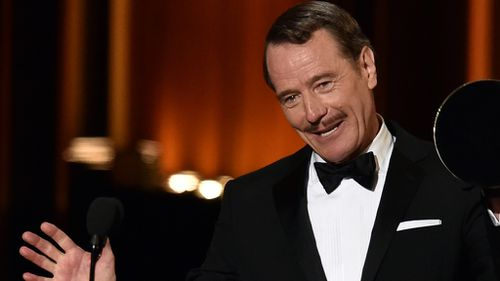 Bryan Cranston accepts his best drama actor award at the Emmys.