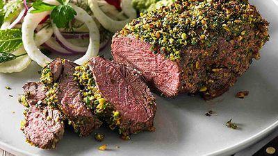 """Recipe:<a href=""""http://kitchen.nine.com.au/2016/05/05/13/32/hayden-quinns-herb-and-pistachiocrusted-lamb-rump"""" target=""""_top"""">Hayden Quinn's herb and pistachio-crusted lamb rump</a>"""