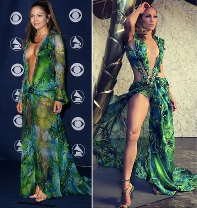 Jennifer Lopez in her original Versace Grammys gown from 2000 (left) and even sexier update on September 21, 2019 (right).