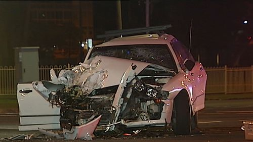 The front of the car was almost torn off in the collision. (9NEWS)