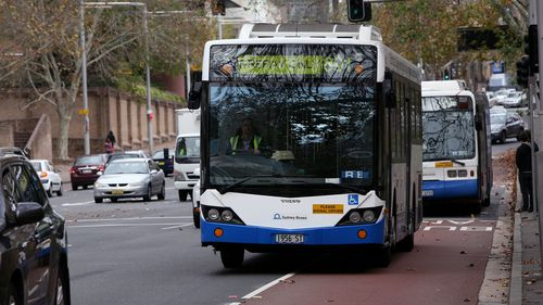 A NSW government bus in Sydney's CBD. A fight broke out on a similar bus on the Northern Beaches last night.