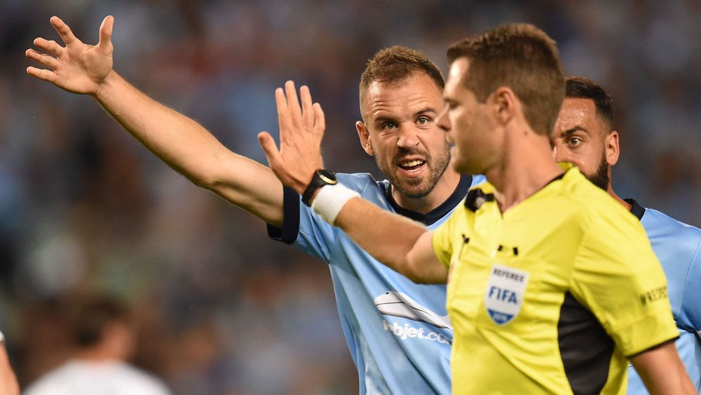Tensions between A-League players and coaches and match officials continue to grow. (AAP)