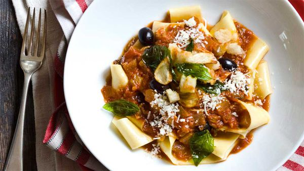 Chicken cacciatore pappardelle with gremolata crumbs. Image: Real Living