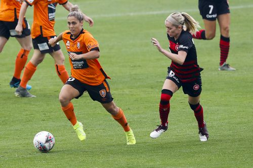 Katrina Gorry playing for Brisbane Roar on January 12, 2021 during the round nine W-League match against the Western Sydney Wanderers.