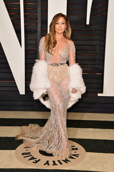 Jennifer Lopez wearing Zuhair Murad at the 2015 Vanity Fair Oscar Party in Beverly Hills, February, 2015