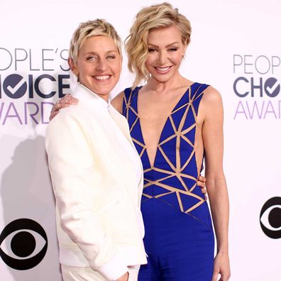 Ellen DeGeneres and actress Portia de Rossi attend The 41st Annual People's Choice Awards at Nokia Theatre LA Live on January 7, 2015.