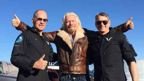 "Branson greeted the two pilots after the test, declaring ""Space is Virgin territory!"""