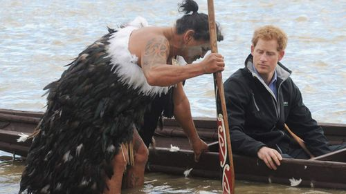 Prince Harry in hard paddle up New Zealand river