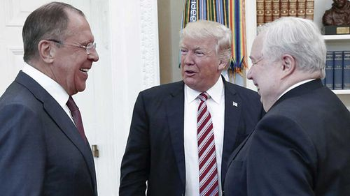 Sergey Lavrov, Donald Trump and Sergey Kislyak in the Oval Office. (AAP)