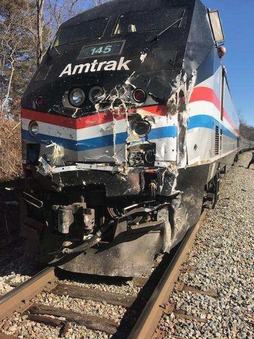 The train was derailed after the crash occurred. (AAP)