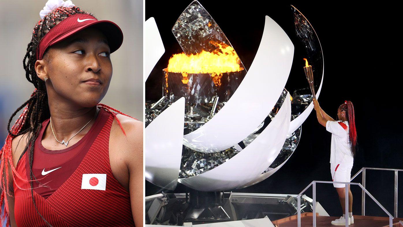 Naomi Osaka lit the Olympic cauldron at the opening ceremony.