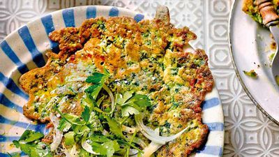 """Recipe:&nbsp;<a href=""""http://kitchen.nine.com.au/2016/08/18/16/31/black-sea-pancake-turkish-savoury-pancake"""" target=""""_top"""">Black Sea pancake</a> (Turkish savoury pancake)"""