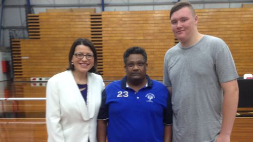 Josh (right) with off-duty nurse George Fernandes and Health Minister Jenny Mikakos.