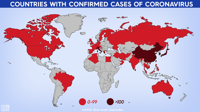 Confirmed cases of coronavirus across the globe. Graphic by Tara Blancato