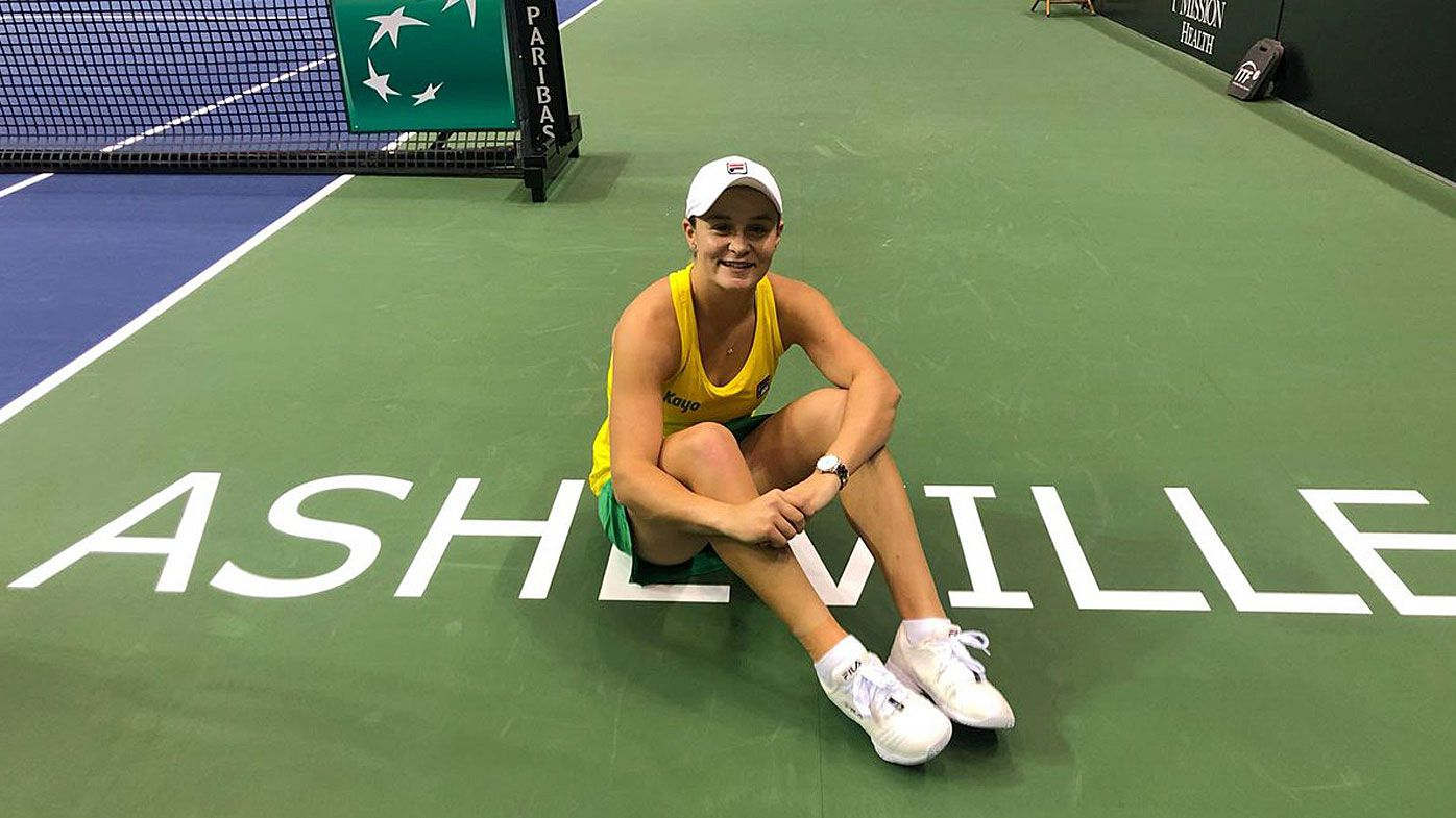 Ash Barty celebrates Australia's Fed Cup win