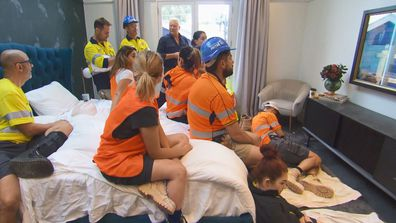 The teams gathered in Harry and Tash's Master Bedroom to watch Scott Morrison's address. The Block 2020