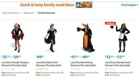 'Fat girl costumes' on Walmart's website (Jezebel)
