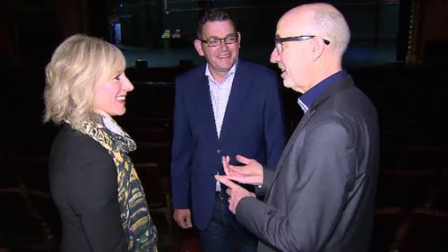 Victorian Labor leader Daniel Andrew and wife Cath toured the Palais Theatre. (9NEWS)