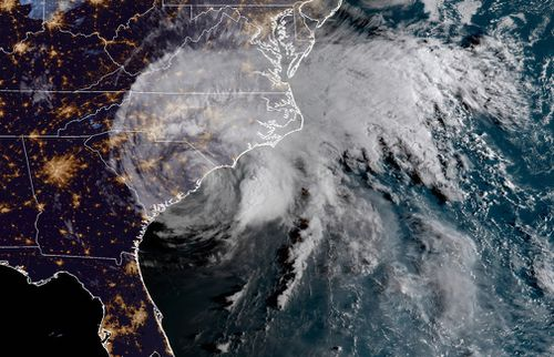 This satellite image provided by NOAA shows Hurricane Florence on the eastern coast of the United States.