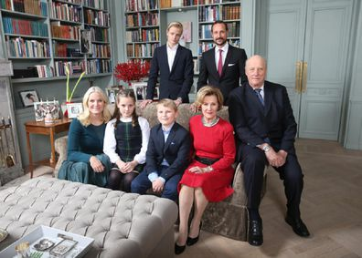Back row from left, Marius Borg Hoiby and Crown Prince Haakon, front row from left, Crown Princess Mette-Marit, Princess Ingrid Alexandra, Prince Sverre Magnus, Queen Sonja and King Harald pose during a Christmas photo session at Skaugum, the the residence of the Crown Prince and Crown Princess of Norway, in Asker, Norway, Monday, Dec. 14, 2015.