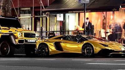 Despite being hit with hundreds of dollars in fines breaking the city's strict Public Spaces Protection Order prohibits drivers which prohibits drivers from revving engines, the Saudi royal continued to brandish his $1.8 million gold fleet in the city's affluent precincts. (Source: Instagram)
