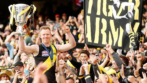 Jack Riewoldt of the Tigers celebrates his team winning the 2019 AFL Grand Final