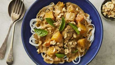 "Recipe:&nbsp;<a href=""http://kitchen.nine.com.au/2017/08/07/16/41/one-pan-beef-and-pumpkin-massaman-curry-with-rice-noodles"" target=""_top"">One-pan beef and pumpkin Massaman curry with rice noodles</a>"
