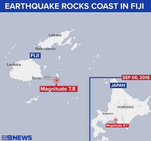 Fiji earthquake map