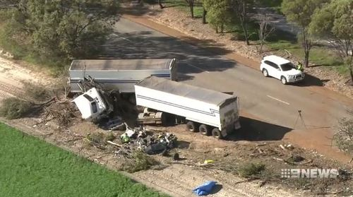 A mother and her 10-year-old son and three other children injured when their parked car was hit by a semi-trailer.