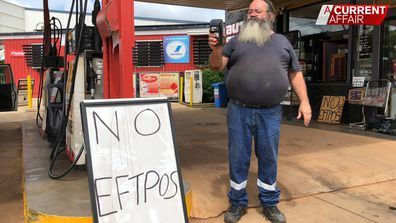 John Spence says it's very hard to run his petrol station without a working EFTPOS terminal.