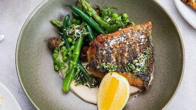 "Recipe: <a href=""http://kitchen.nine.com.au/2018/01/12/14/54/crispy-skin-barramundi"" target=""_top"">Crispy skin Barramundi</a> with summer veg, white bean purée and pistou"