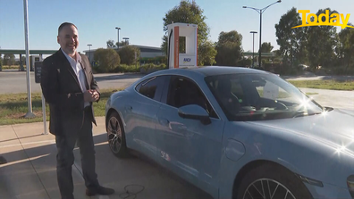 Tech expert Trevor Long is testing the drive from Melbourne to Sydney in the Porsche Taycan.