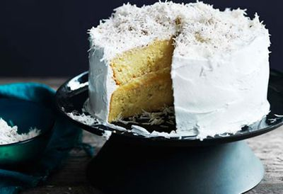 Coconut cake with lime curd