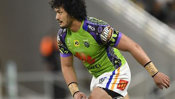 Corey Harawira-Naera of the Raiders during the round 12 NRL match between the North Queensland Cowboys and the Canberra Raiders at QCB Stadium on August 01, 2020 in Townsville, Australia.