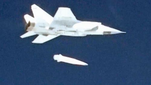 A Russian jet launches the hypersonic Kinzhal missile. (AP).