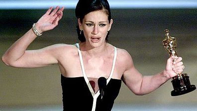 "<B>The Oscar:</B> Best Actress for <I>Erin Brockovich</I>, at the 73rd Academy Awards (2001).<br/><br/><B>The speech:</B> Roberts' five-minute speech was the second longest in Oscar history, allowing her to thank her co-stars, agent and producers - but not Brockovich herself, whose story was the reason Julia won the award in the first place. Burned. Watch her horse laugh on the next slide.<br/><B>Worst bit:</B> <I>[To her shiny new Oscar statue]</I> ""I can't believe this - this is quite pretty."""