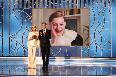 Kyra Sedgwick and Kevin Bacon announce Emma Corrin (appearing via video) as the winner of Best Television Actress  Drama Series award for The Crown at the 78th Annual Golden Globe Awards held at The Beverly Hilton and broadcast on February 28, 2021 in Beverly Hills, California.