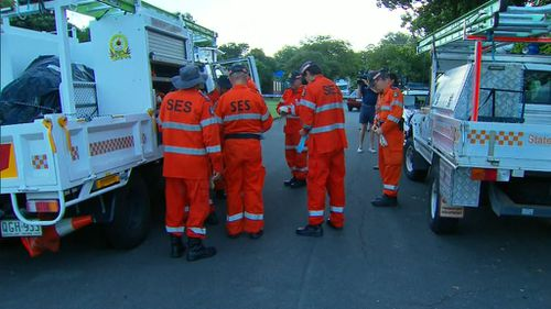 SES crews have arrived at the scene to search surrounding streets for evidence of an accelerant. (9NEWS)