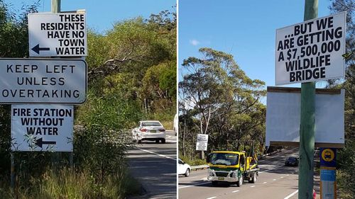 Signs of protest on Mona Vale Road outside Wirreanda Valley. (John Holman)